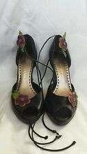 Gianni Bini Peep Toe Lace Up  Wedge Heels With Flower Detail Black Size 6.5