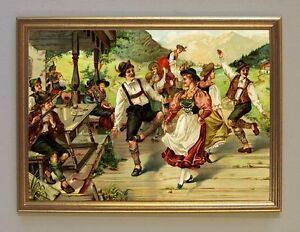 Dancers-from-Bavaria-Original-UM-1898-KXZ-Deckle-Facsimile-53-in-Gold-Frame