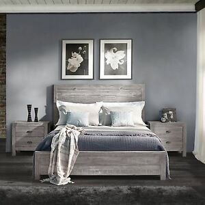 Rustic Grey Grain Wood Furniture Queen Size Solid Wood