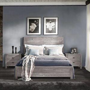 Rustic Grey Grain Wood Furniture Queen Size Solid Wood
