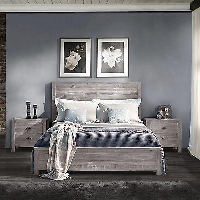 Rustic Grey Grain Wood Furniture Queen Size Solid Wood ...