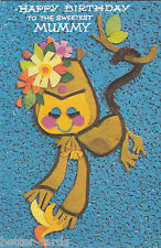 Vintage Happy Birthday Mummy Cute 1970's Greeting Card ~ Monkey Flower Power