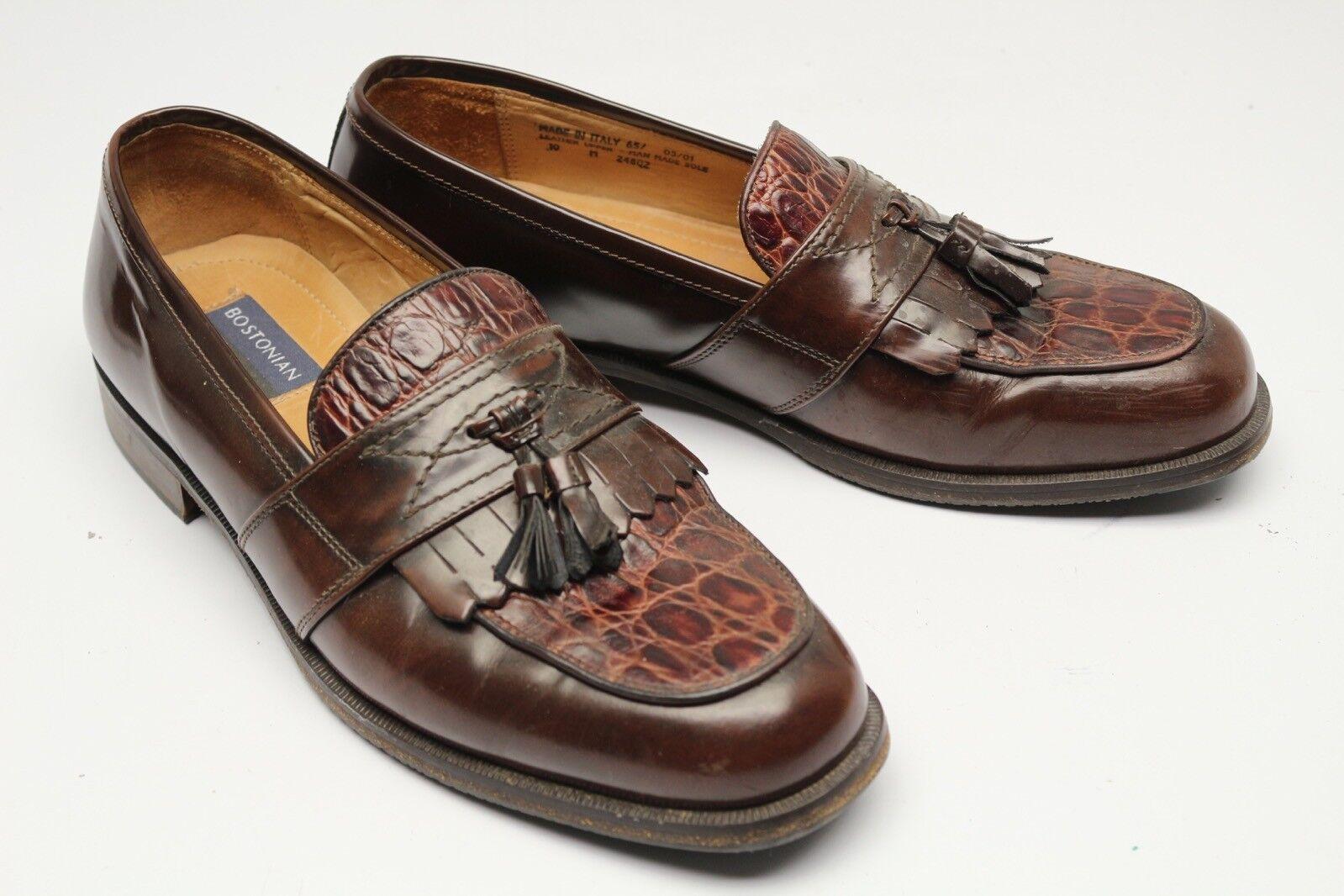 Bostonian Florentine Herren Schuhe 10 M Braun Krokoprägung Troddel Kiltie