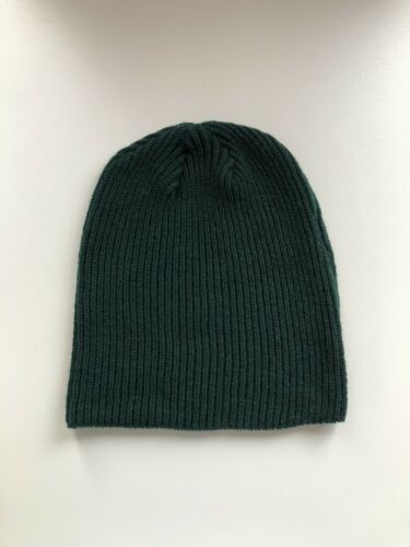 100/% Pur Cachemire Fisherman Knit Tartan Vert beanie hat handmade Regular lnth