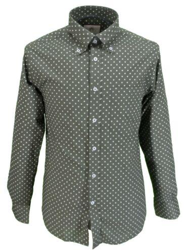 Real Hoxton Homme Vert Olive Polka Classic Mod design vintage shirt/'s