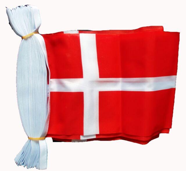 DENMARK 3 METRE BUNTING 10 FLAGS flag 3M DANISH