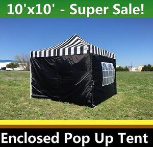 A imagem está carregando 10-039-x10-039-Enclosed-Pop-Up-Canopy-  sc 1 st  eBay & 10u0027x10u0027 Enclosed Pop Up Canopy Party Folding Tent Gazebo - Black ...