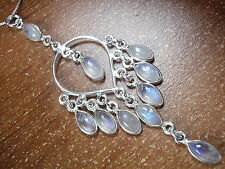 Blue Moonstone 10-Gem Chandelier Pendant 925 Sterling Silver