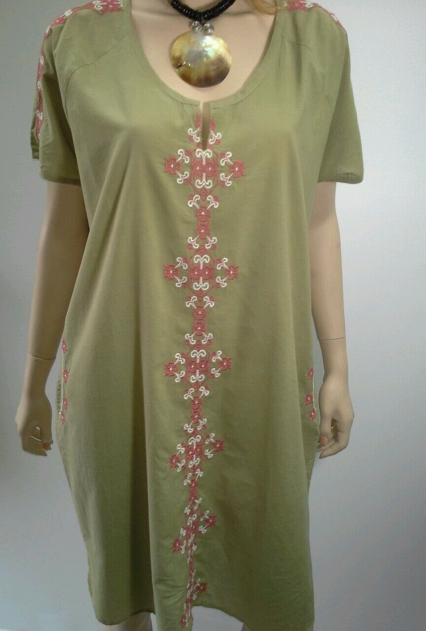 MANDALAY DESIGNS By Emma Strauss Size S OLIVE Cotton Embroidery Shift Dress  159