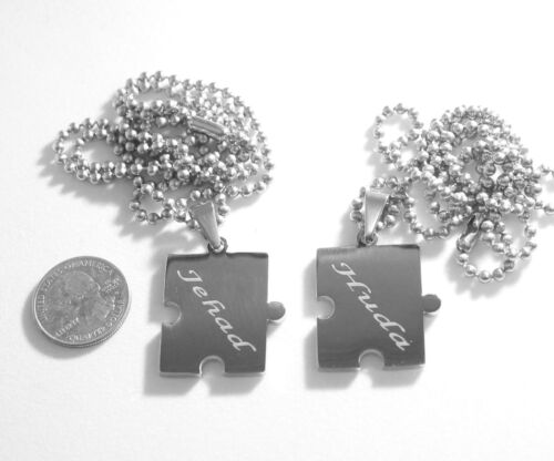 BROTHER SISTER PUZZLE PIECE X2 TAGS, NAMES, SOLID STAINLESS TAGS AND CHAINS