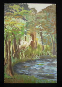 Drawing-Original-with-Gouache-c1900-Scene-of-Nature-One-Deer-Signed-Artist-48cm