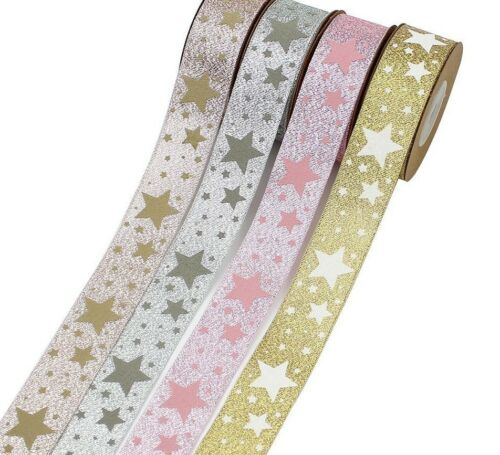 Glitter Printed Star Ribbon Use For Home Christmas Crafting Decoration Materials