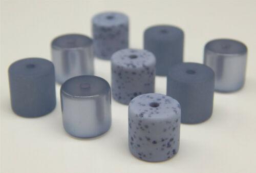 9 POLARISPerlen 10mm Walzen Röhren Mix matt glänzend Gala Türkis Blau Montana