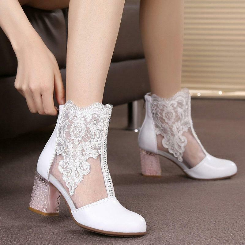 Donna Lace Flower Leather Leather Leather Ankle stivali Rhinestone Block Heel Wedding zipper Pumps 10c67d