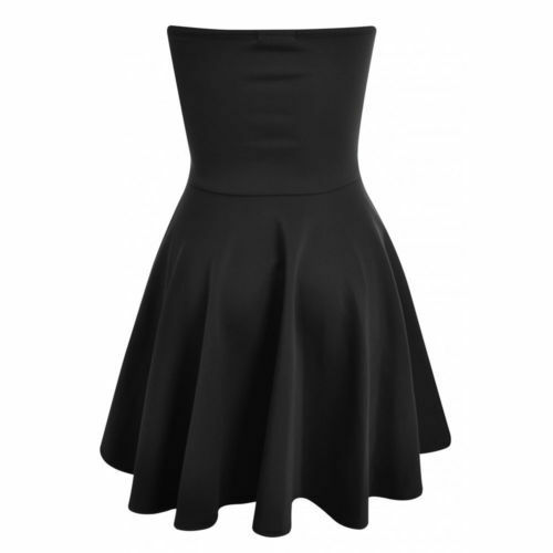 Womens Ladies Padded Boobtube Pleated Bodycon Stretch Skater Skirt Dress UK  8-14 Black 10 5895c94d5
