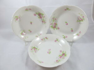 Limoges Coronet Set of 3 Rimmed Soup Bowls Pink Roses Blue Flowers ...