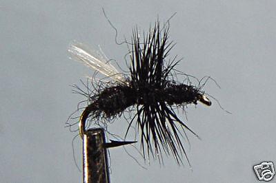 1 x Mouche Sèche Sedge Noire H14//16//18//20//22 black dry fly mosca fliegen truite