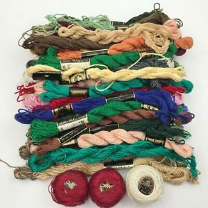 DMC-Perle-Cotton-Sz-3-amp-5-Thread-LOT-OF-45-Skeins-Needlepoint-Assorted