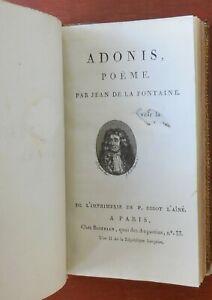 Détails Sur Jean De La Fontaine Adonis Poëme Didot Lainé Chez Bozerian An Ii 1794