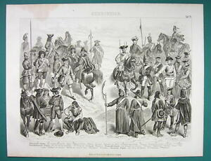 ARMY-of-Russia-Peter-the-Great-Era-Prussia-France-Louis-XV-1870s-Antique-Print