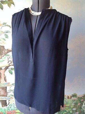Vince Blue Shirred Shoulder Crepe Top Blouse Size 4 NWT MSRP $195