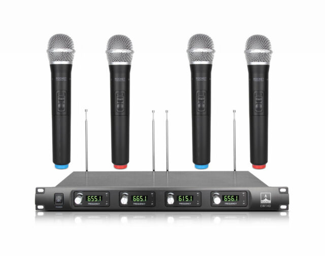4 Channel 4 Cordless Handheld Mic UHF Wireless Microphone System Metal OD8888 4H