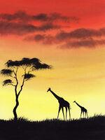 SARAH FEATHERSTONE, ORIGINAL ART WATERCOLOUR PAINTING, Giraffes In Africa,Sunset