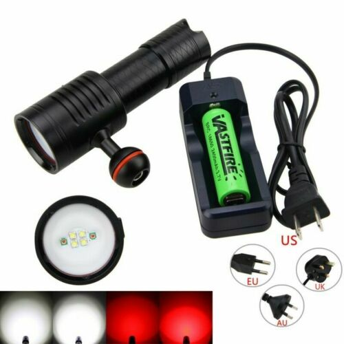 Scuba Diving Flashlight Underwater 100M Video Photography Light Dive Torch Lamp