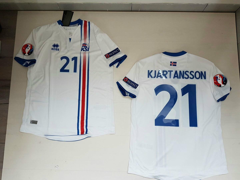 KJARTANSSON ISLANDA ICELAND Ísland  MAGLIETTA JERSEY SHIRT EURO 2016 PATCH W