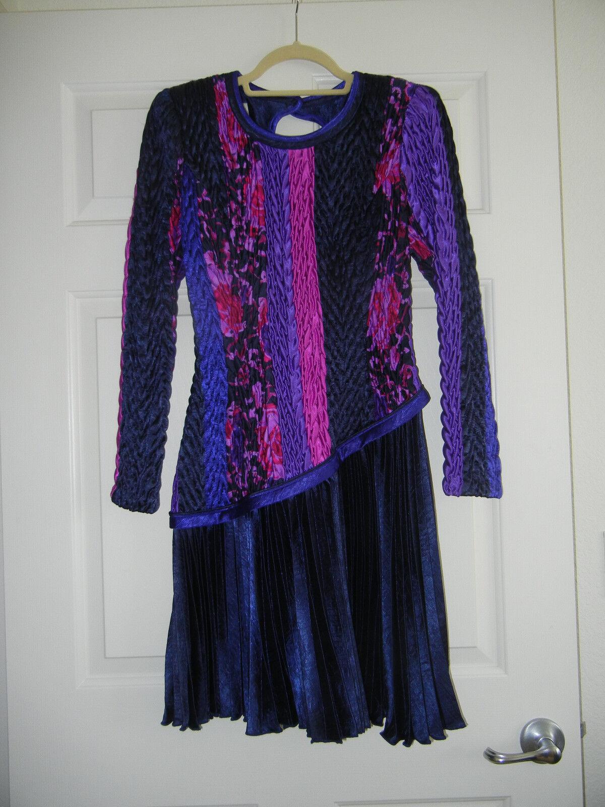 Vintage Jeanne Marc Collection Long Sleeve Dress, Purple bluee Pink, Size S 8 10