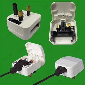 White-2-Pin-Euro-to-5A-UK-3-Pin-Mains-Fused-Plug-Converter-Travel-Adaptor