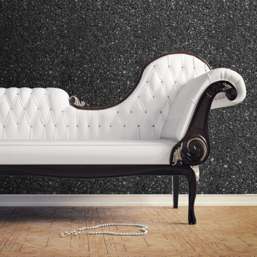 701353 Muriva Textured Sparkle Black Glitter Modern Feature Wallpaper