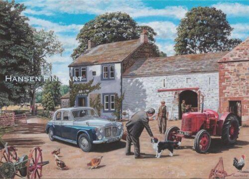 Rover P4 David Brown Tractor Farm Scene Blank Birthday Fathers Day Card