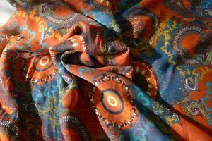 TISSU HAUTE COUTURE 1514 voile polyester imprimé infroissable robe chemisier 3 m