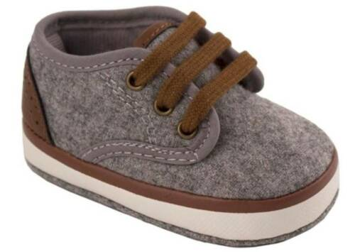 Baby Deer Gray Heathered Faux Wool Lowtop Sneakers with Brown Trim Size 0 1 2