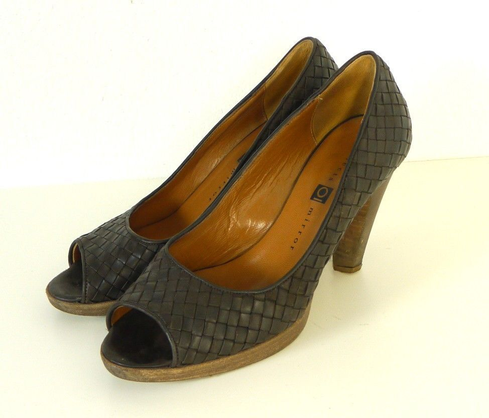 OBJECTS IN MIRROR Plateau High Heel Pumps Peep Toe Woven Braun Gr EUR 38,5 (T30)