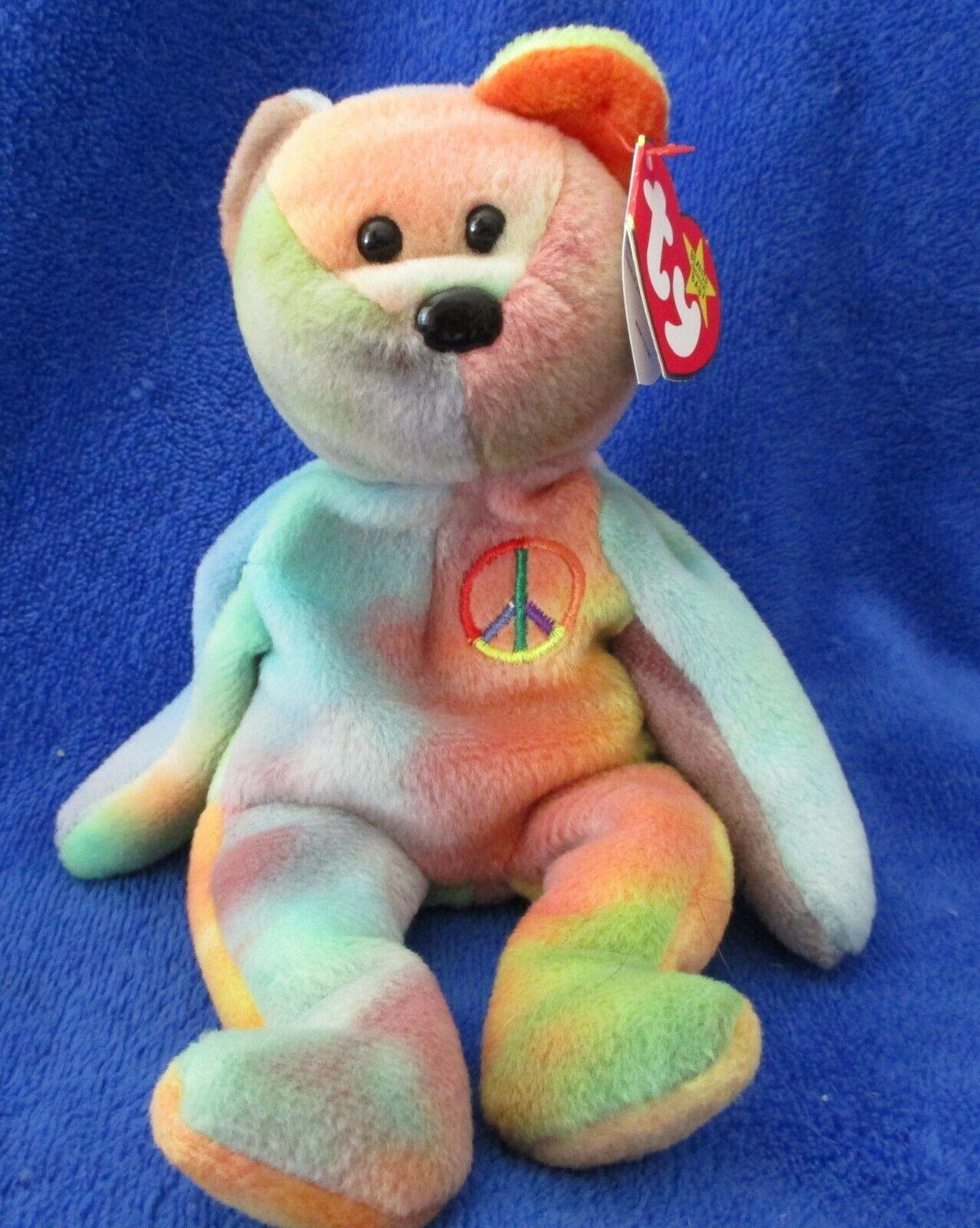 Ty Beanie Baby Peace Bear 2 Tag Errors PVC Filled 1996