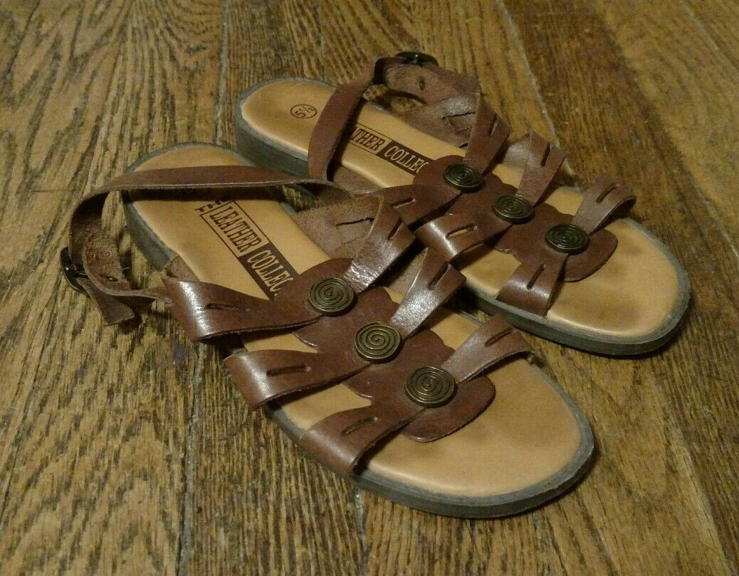 The Leather Collection Women's Size Brown Leather Open Toe Sandals Size Women's 5.5 ac7ea5