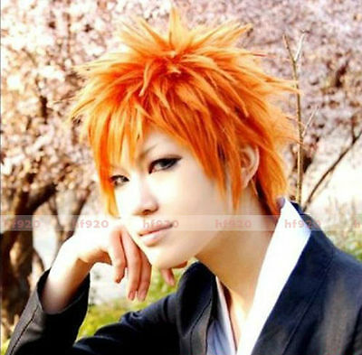 Anime Kurosaki Ichigo BLEACH Short Orange Cosplay Wig + Free cap + Track