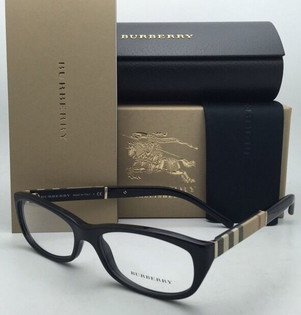 608914a0bed3 Burberry Eyeglasses B 2167 3001 52-16 Black Frames With Plaid Design  Temples for sale online