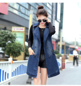 4e57b3b619d4f Women s Vest Cowboy Denim Waistcoat Girl Sleeveless Long Coat Jeans ...