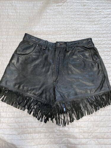 Womens Harley Davidson Black Leather Shorts Size 1