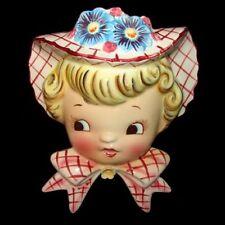 Vintage Lefton Dainty Miss Head Vase Wall Pocket Head Vase Planter