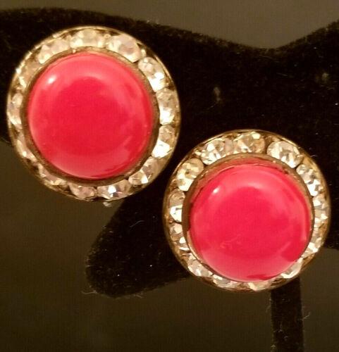 Groovy Hot Pink and Silvertone Screwback Dangle Earrings
