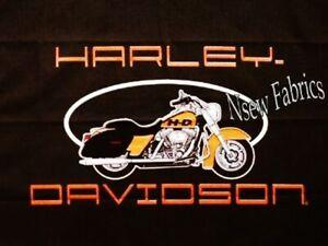 Big Harley Davidson Motorcycle Fabric Classic Biker Logo Panel Ebay