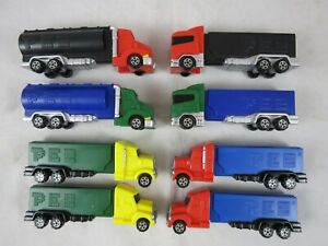 PEZ Truck Rig Dispensers Series E 4 Cab Styles Rolling Wheels Tanker Flame 8 Lot