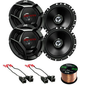 4-JVC-6-75-034-300W-Car-Coaxial-Speakers-and-50FT-Wiring-88-UP-GM-Speaker-Harness