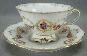 Dresden Hand Painted Floral & Gold Garlands Footed Tea Cup & Saucer D