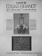 PUBLICITÉ 1927 GALERIE EDGAR BRANDT ART DÉCORATIF LUSTRE FER FORGÉ - ADVERTISING