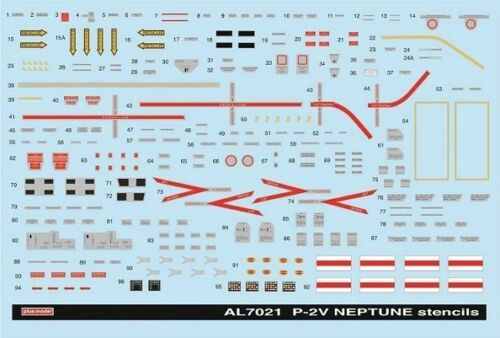 Plus Model AL7021-1:72  Stencils for P2V Neptune